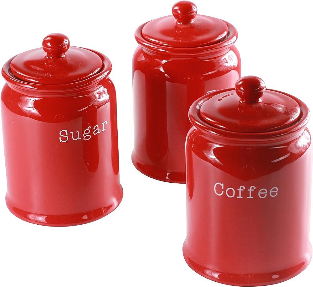 Set di 3 contenitori per tè, caffè e zucchero , in ceramica