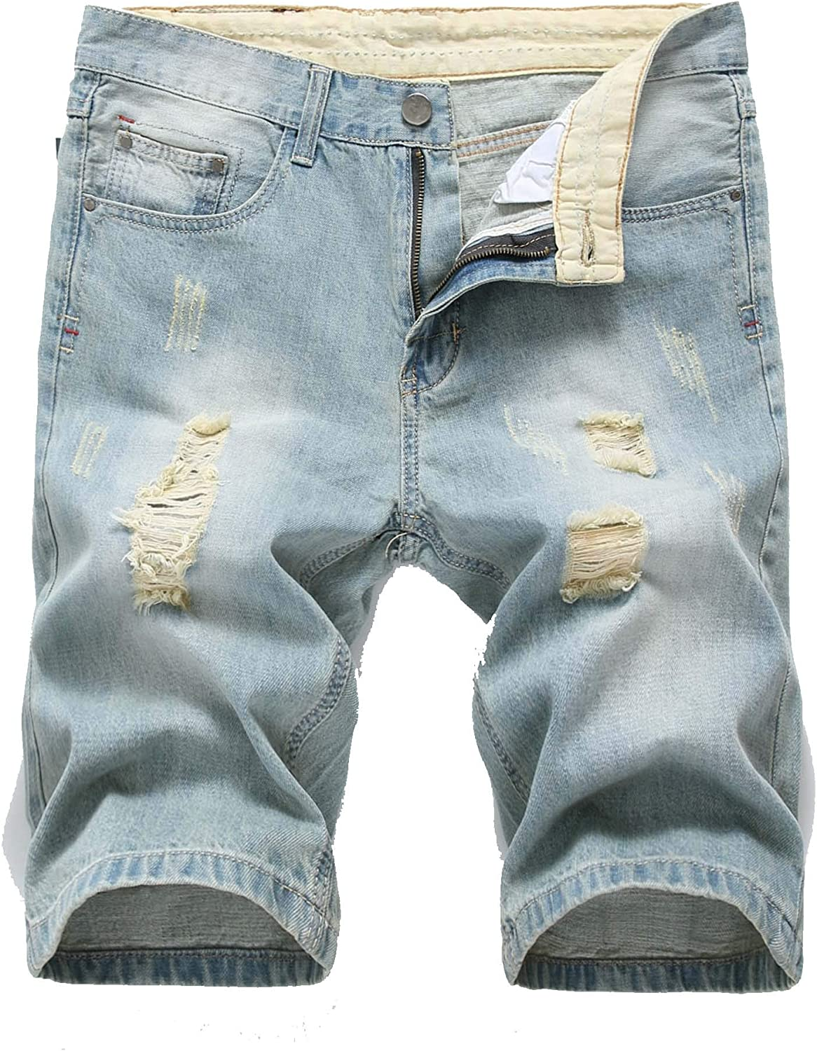 Denim Shorts for Men Washed Ripped Casual Summer Vintage Distressed Short Jeans
