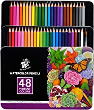 TBC The Best Crafts 48 Watercolor Pencils Professional,Color Pencils with Metal Box,Drawing Pencils for Kids and Adults
