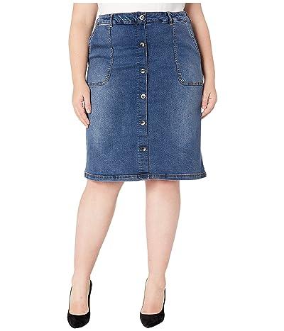 JUNAROSE Plus Size Judy Below The Knee Skirt (Medium Blue) Women