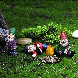 Miniature Drunken Gnomes Fairy Garden Set, Miniature Gardening Gnomes, Tiny Fairy Garden Dwarfs, Gnome-Drunk Desktop Decor...
