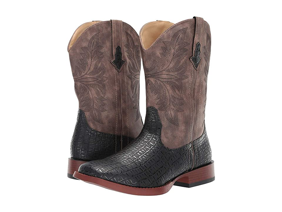 Roper Chomp (Black Faux Caiman Vamp/Vintage Shaft) Cowboy Boots