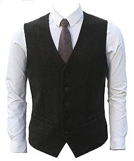 40e7e4c0632171 Ruth&Boaz 2Pockets 5Buttons Wool Herringbone/Tweed Business Suit Waistcoat