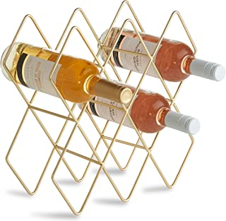 VonShef 8-10 Bottle Wine Rack Freestanding Bottle Holder Countertop Storage Metal Brushed Gold Geometric Design for Red White Wine