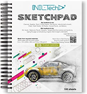 NIL TECH 9x12 Inches 100 Sheets White Sketch Book (68 lb/100gsm) Fine Tooth Spiral Bound Drawing Paper Pad for Kids and Ad...