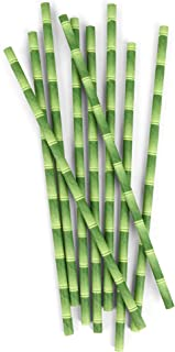 Kikkerland 144-Piece Paper Soy Based Ink Bamboo Paper Straw, Multi-Colour, CU75