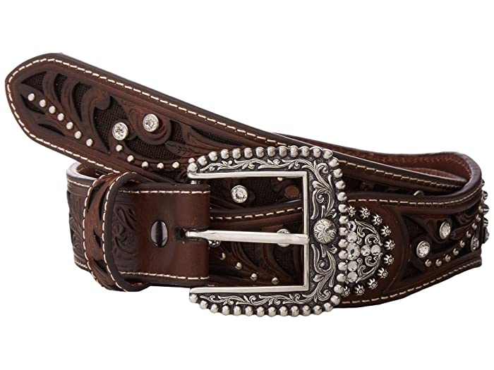 Ariat Scalloped Inlay Rhinestone Belt (Brown) Women