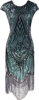 YENMILL 1920s Vintage Flapper Fringe Beaded Inspired Tassel Gatsby Cocktail Party Dress
