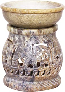 Father's Day Gift Hand Carved Essential Oil Burner Diffuser Made of Soapstone with Tea Light Holder Aromatherapy (Design6)