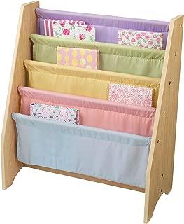 KidKraft Wood & Canvas Sling Bookshelf Furniture for Kids – Pastel & Natural