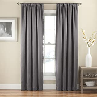 ECLIPSE Tricia Modern Room Darkening Thermal Rod Pocket Window Curtain for Bedroom (1 Panel), 52 in x 84 in, Grey