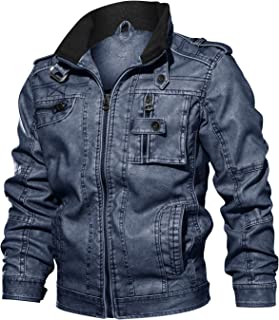 CRYSULLY Men's Fall Faux Leather Jacket Vintage Stand Collar Zipper Pu Leather Biker Jackets