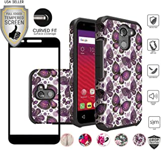 Alcatel A30 Fierce Case (MetroPCS), REVVL 2017 Version (Not Plus Version), with Full Edged Tempered Glass Screen Protector, Slim Hybrid Shockproof Design Cover Case (Gold Violet Butterfly)