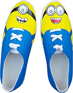 FUNKY N TRENDY Minion Eyes Blue Handpainted Waterproof Women's Canvas Casual Shoes