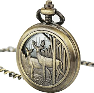 SIBOSUN Pocket Watch With Chain Deer Reindeer Woodland Men Smooth Back Case Bronze Vintage Box Quartz