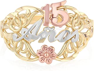14K Solid Tri Color Gold Sweet 15 Anos 15 Years Birthday Quinceanera Flower Ring