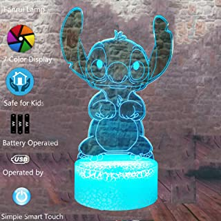 Cartoon - Lilo and Stitch - 3D Led Lamp Bedroom Table Family Personalized Hot Decorative - 7 Colors Smart Touch Control Night Light - Child Kids Baby Favor Gifts Toys - for Christmas Party Birthday