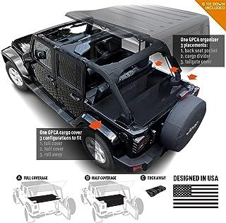 GPCA Jeep Wrangler JK 4DR Freedom Pack LITE - Cargo Cover LITE and Cargo Organizer Tailgate Cover for Sport/Sahara/Freedo...