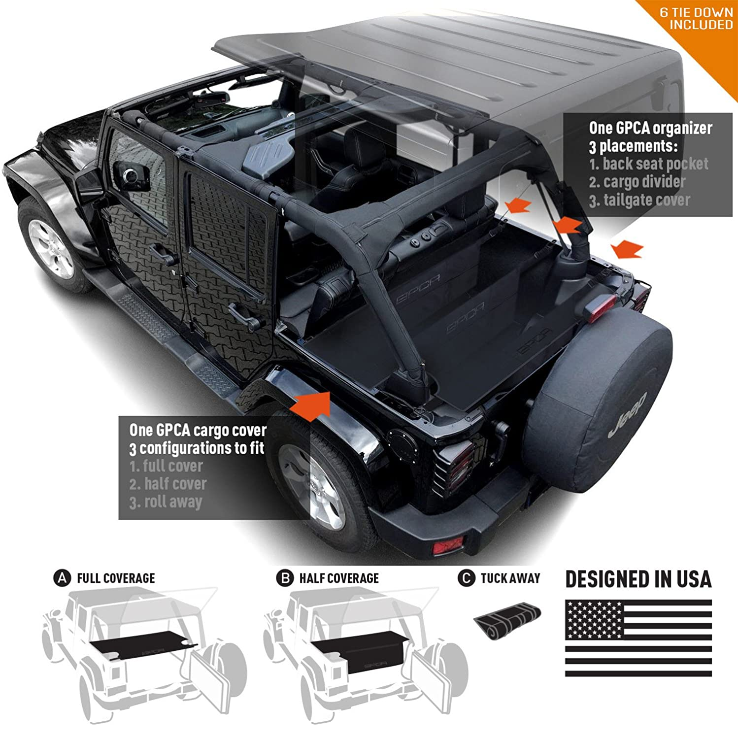 GPCA Jeep Wrangler JK 4DR Freedom Pack LITE - Cargo Cover LITE and Cargo Organizer Tailgate Cover for Sport/Sahara/Freedom/Rubicon 2007-2018 Models