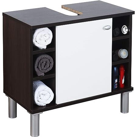 RICOO WM100-EB-W Mueble baño bajo Lavabo 60x54x32cm Armario Auxiliar Estantería Debajo lavamanos Toallero Madera Blanca y Roble marrón Oscuro