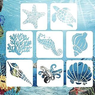AvoDovA 8 piècesPochoirs de peinture de Créatures Marines, Réutilisable Journal Peinture Pochoir pour Enfants, Dessin Poc...