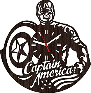 Wooden Wall Clock Captain America Gifts for Men Women Kids Boys Girls Party Supplies Accessories Merchandise Marvel Comics Decorations Home Nursery Shower Room Decor Cosplay mask Costume