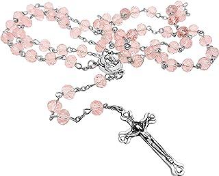Crucifijo y cristal rosa luz granos rosario católico collar medalla de suelo Santo