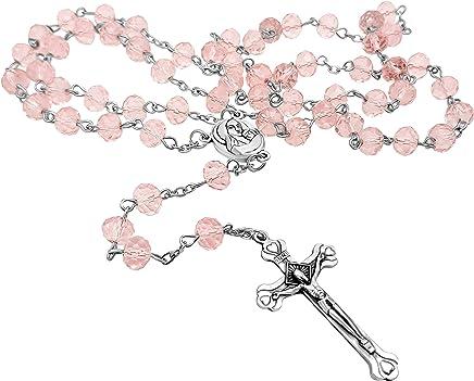 6038bdce436b Crucifijo y cristal rosa luz granos rosario católico collar medalla de  suelo Santo