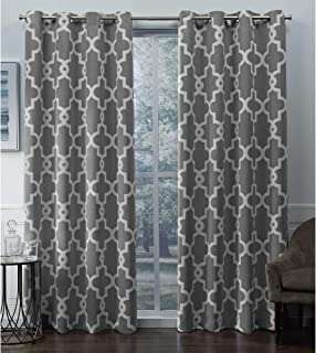 Exclusive Home Curtains Ironwork Sateen Woven Blackout Grommet Top Curtain Panel Pair, 52x96, Silver