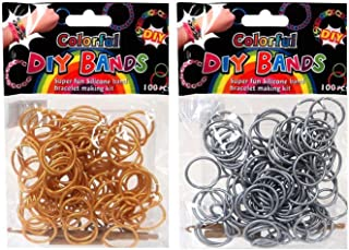 DIY Loom Rubber Bands - 100 Count Silver + 100 Count Gold Refill bands with Clips and Loom tool