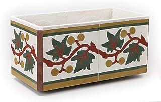 Jardinera Auténtico Mosaico Hidraulico Artesano. Diseño Hojas de Parra. Decoración Jardín, Terraza, Balcon. Exterior. Interior. Alta Calidad. Muy Resistente. (43x22x20 cm)