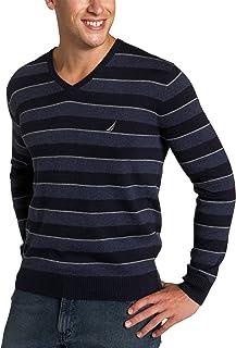 NAUTICA Men's Striped V-Neck Cashmere Sweater