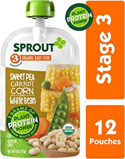Sprout Organic Stage 3 Baby Food Pouches with Plant Powered Protein, Sweet Pea Carrot Corn & White Bean, 4 Ounce (Pack of 12)
