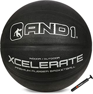 """AND1 Xcelerate Rubber Basketball (Inflated) OR (Deflated w/Pump Included): Official Regulation Size 7 (29.5"""") Streetball, Made for Indoor and Outdoor Basketball Games"""