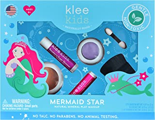 Mermaid Star - Klee Kids Natural Mineral Makeup 4 Piece Kit with Pressed Powder Compacts. Non-Toxic. Made in USA.