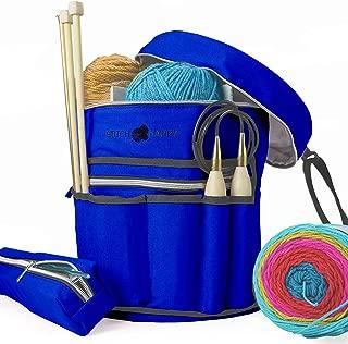 Stitch Happy Knitting Bag (Cobalt): 7 Pocket Yarn Bag, Crochet Bag for Yarn Storage, Crochet Storage
