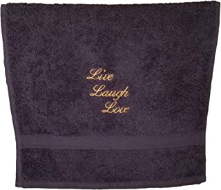 Embroidered Hand Towels with Inspirational Message (Set of 2) for Bathroom, Kitchen or Spa. (Grey, Mustard Live, Laugh, Love)