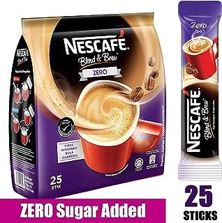 Nescafe ZERO - 2 in 1 Unsweetened Instant Coffee Packets (No Added Sugar) - Single Serve Sugar Free Coffee Mix (25 Sticks)