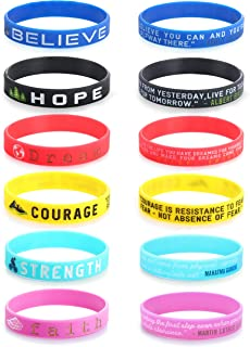 12 Pcs Inspirational Silicone Rubber Bracelets for Men Women Wristbands Positive Energy with Motivational Saying Bracelets Set Sports Wristbands