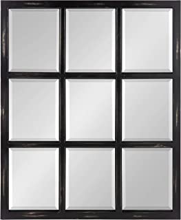 Kate and Laurel Modern Farmhouse Hogan 9 Windowpane Wood Wall Mirror, Distressed Black 26x32