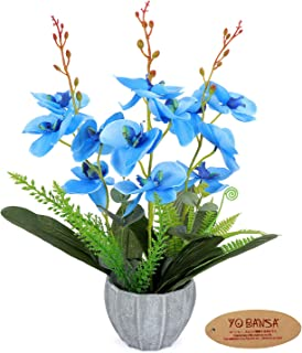 YOBANSA Orchid Bonsai Artificial Flowers with Imitation Porcelain Flower Pots Phalaenopsis Fake Flowers Arrangements for Home Decoration(Blue)