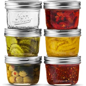 Wide Mouth Mason Jar 8 oz [6 Pack] Kerr Wide Mouth Mason Jars With Airtight lids and Bands - For Canning, Fermenting, Pickling, Freezing - Glass jar, Microwave & Dishwasher Safe. + SEWANTA Jar Opener