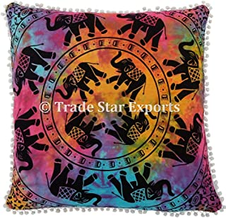 Trade Star Exports 26 X 26 Mandala Euro Sham, Elephant Pillow Cover, Tie Dye Cushion Cases, Indian Ethnic Pillow Case, Hippie Cushion Cover with Pom Pom Lace, Bohemian Throw Pillow Cases (Pattern 10)