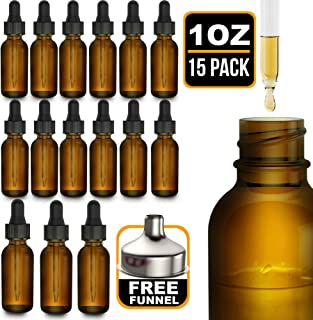 15 Pack Essential Oil Bottles - Round Boston Empty Refillable Amber Bottle with Glass Dropper for Liquid Aromatherapy Fragrance Lot - (1 oz) 30ml