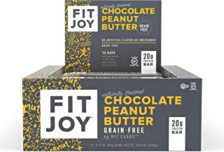 FitJoy Protein Bars, Gluten Free, Grain Free, High Protein Snacks - Low Sugar, Low Carb, 20g Protein Bar - Chocolate Peanut Butter, 12 Pack of 2.11 oz. Bars (Packaging May Vary)