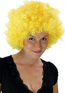 Fiestas Guirca Parrucca Gialla Giallo Oro Lunga Liscia con Frangia
