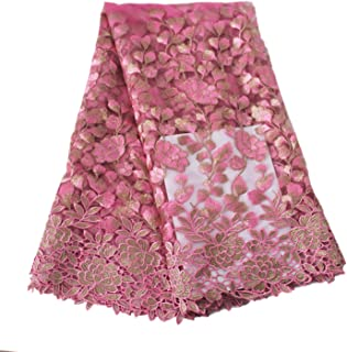 Aisunne African Lace Fabrics 5 Yards Nigerian French Lace Fabric with Fashion Embroidered Flower for Wedding Party Dresses (Rose Red)