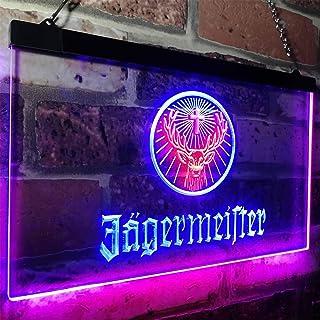 zusme Jagermeister Deer Drink Bar Novelty LED Neon Sign Red + Blue W40cm x H 30cm