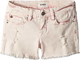 "3"" Fray Hem Shorts in Pink Coral Acid Wash (Big Kids)"