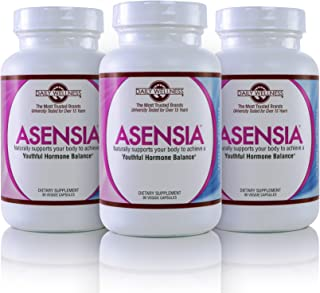 Asensia-Natural Dietary Supplement for Relief from Insomnia, Bloating, Thyroid Related Weight Gain and Hot Flashes Related to Menopause. No Hormones, Gluten Free and Soy Free. 3 Month Supply